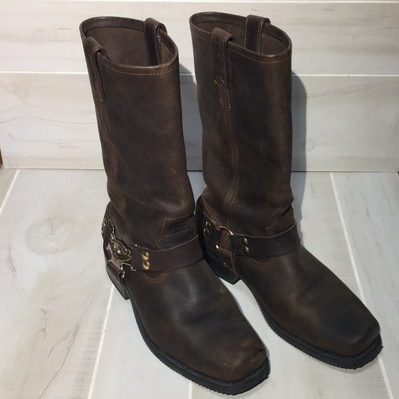 cd67aba9650 Harley Davidson Square Toe Riding Brown Boots 8.5M